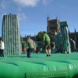 Bouncy Stonehenge in front of Bristol Cathedral