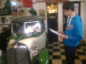 A young learner on the Morgan factory tour